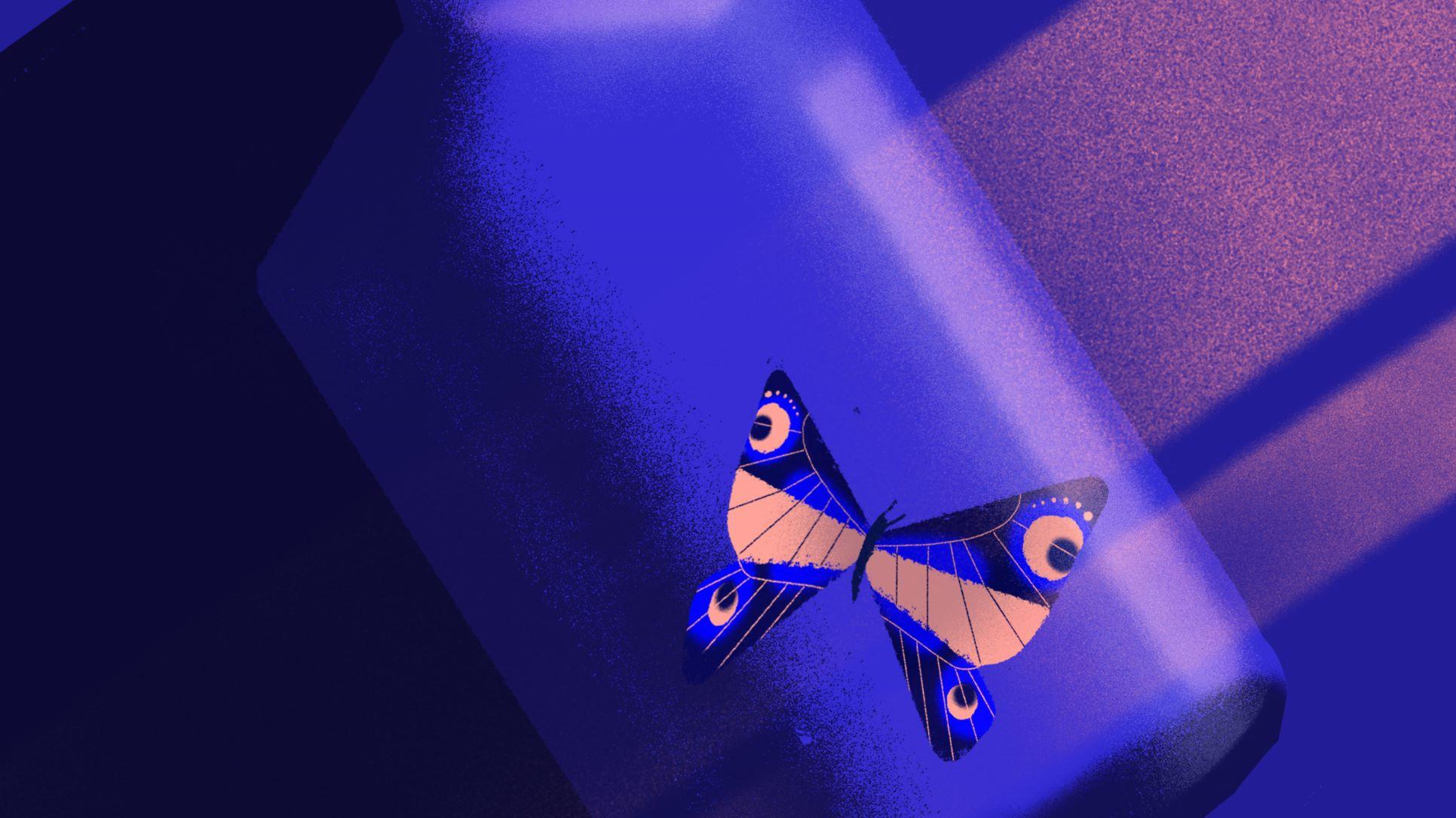 Papillon dans une bouteille de verre, ambiance bleutée et raies de lumière violacée.