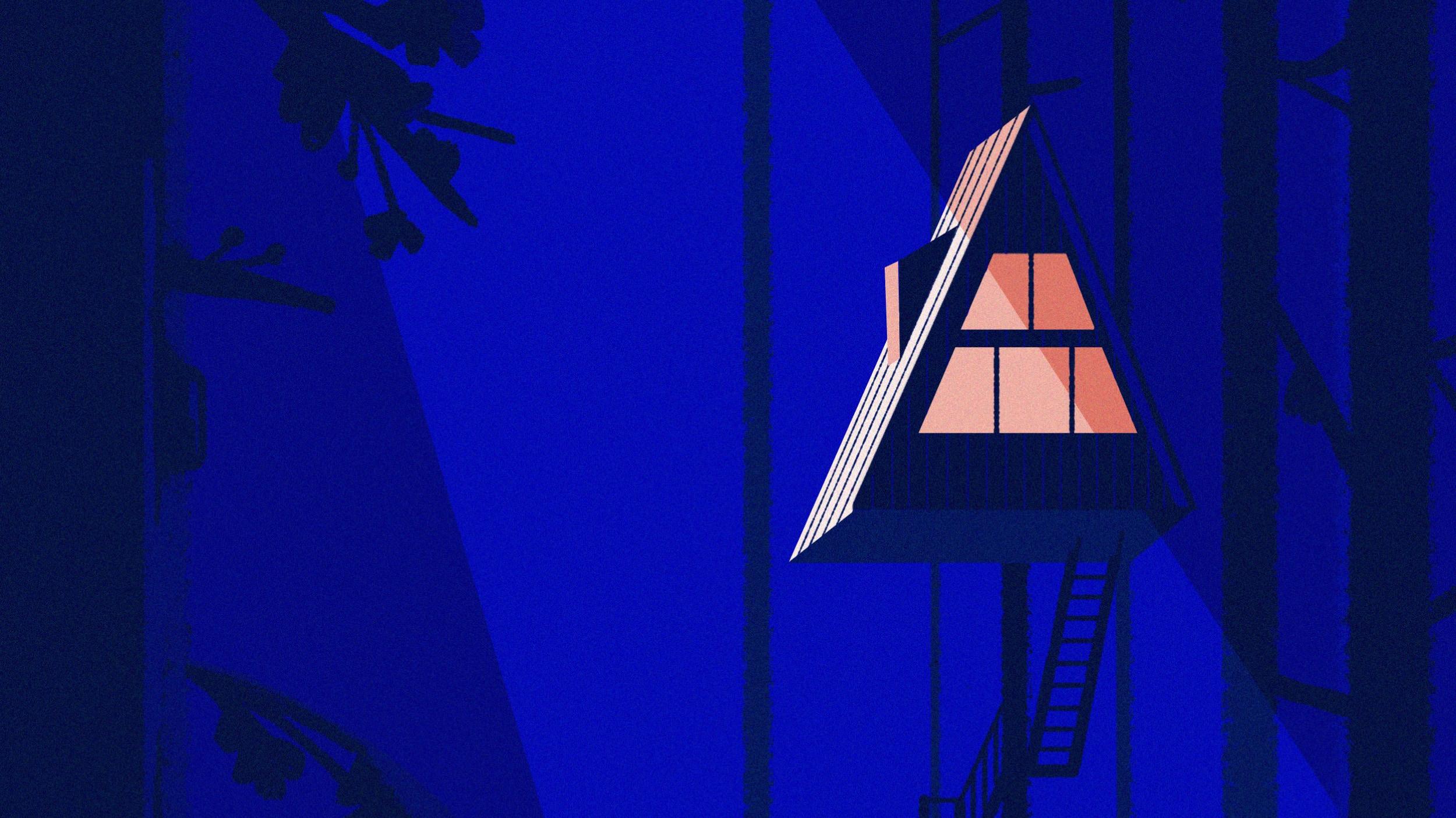 Une maison triangulaire perchée dans un arbre, la nuit.